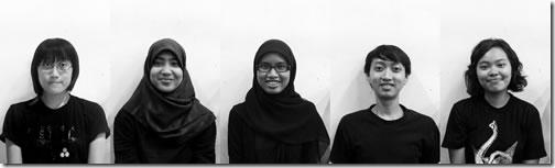 Anastasia Sulemantoro, Annisa Fardan Nabila,  Aulia Amanda Santoso, Emeraldi Kumastyo Paramaeswara and Maria Yosepha