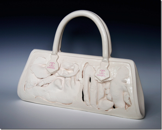 "Julie Bartholomew, ""I am Chanel"", porcelain and decals, 32 x 23 x 10 cm, Starting bid: Aust. $100.00"