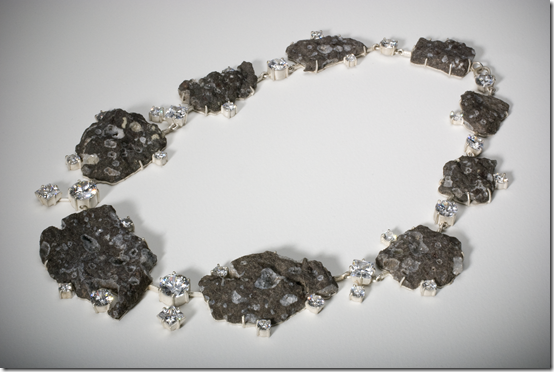 Regine Schwarzer 'Royal Jewels' Necklace, Royal Jewels, chabazite in basalt, cubic zirconia, sterling silver, 2008, 23 x 23 x 1.4 cm