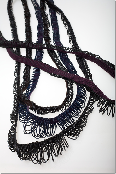 Liz Williamson, Pendent Loop Series, 2009, photo Ian Hobbes, handwoven cotton and leather lacing, 150 x 2cm