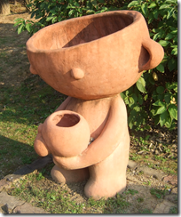 'Toya' was mascot to the biennale. This version of the bowl man cradling a bowl was especially poignant.